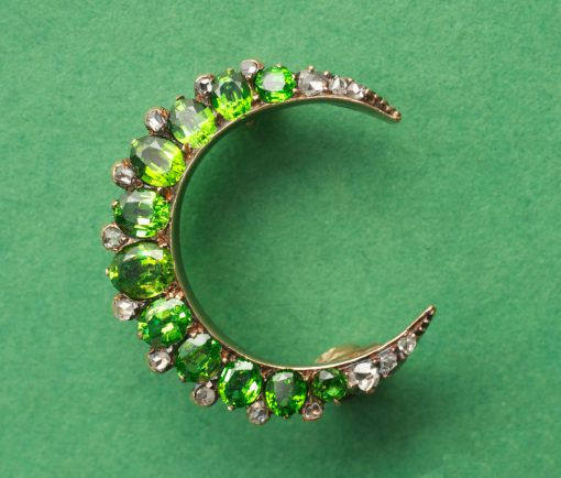 demantoid crescent brooch