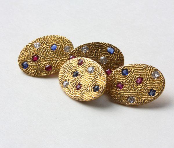 gold moiré cufflinks