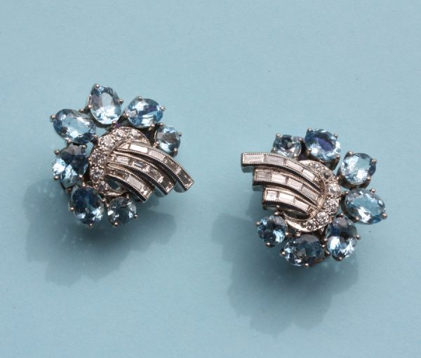 diamond and aquamarine earclips