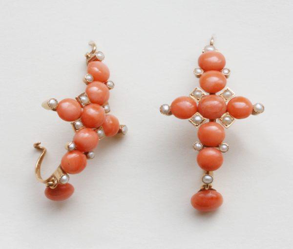 coral cross earrings