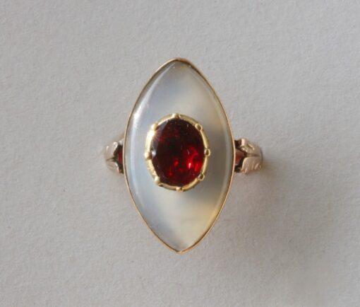 garnet and chalcedon ring