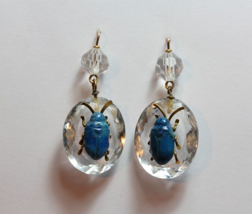rock crystal bug earrings