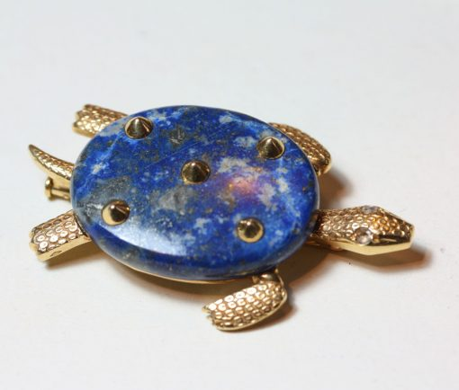 lapis turtle brooch