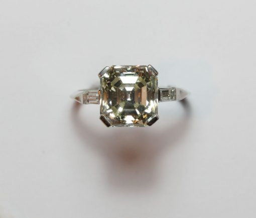 3.85 ct. Asscher cut diamond ring