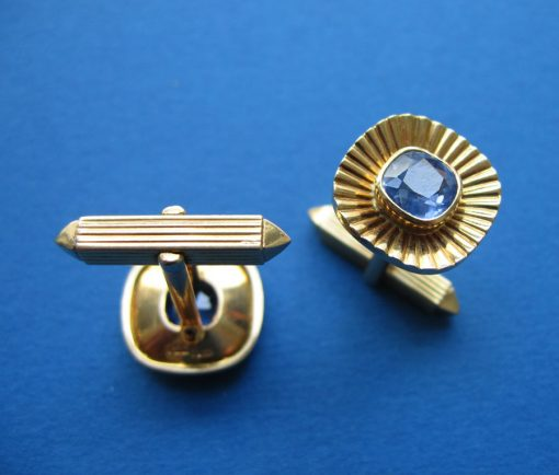 sapphire and gold cufflinks