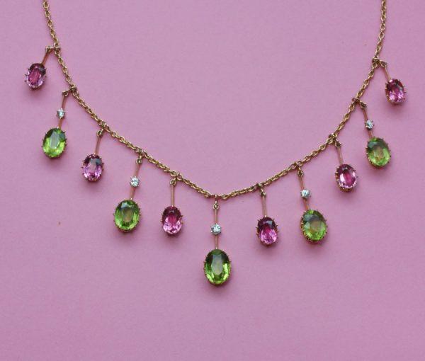 peridot and tourmaline necklace