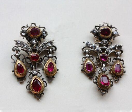 diamond and ruby girandole earrings
