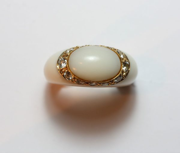 white agate and diamond ring