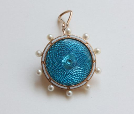 enamel and pearl pendant