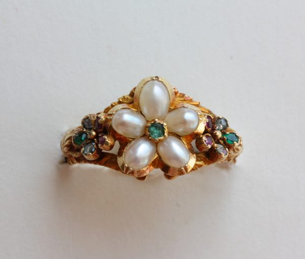 pearl and gem set flower ring