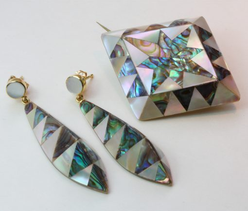 mother of pearl and abalone brooch and earrings