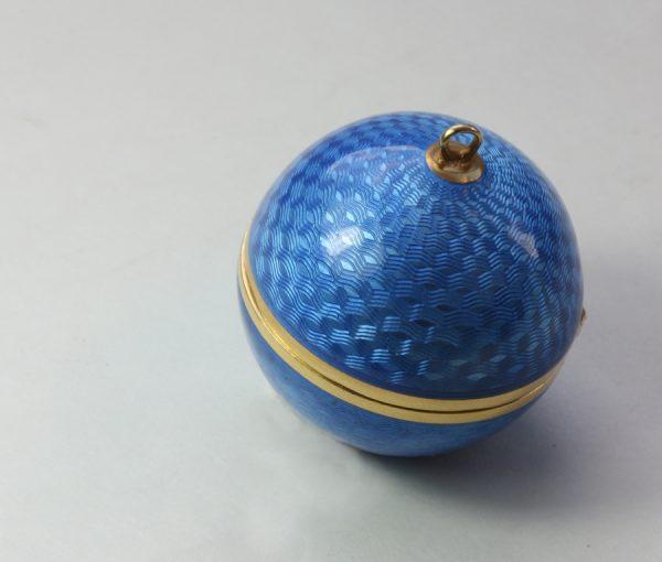 blue enameled spherical box