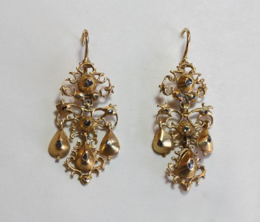 gold and diamond girandole earrings