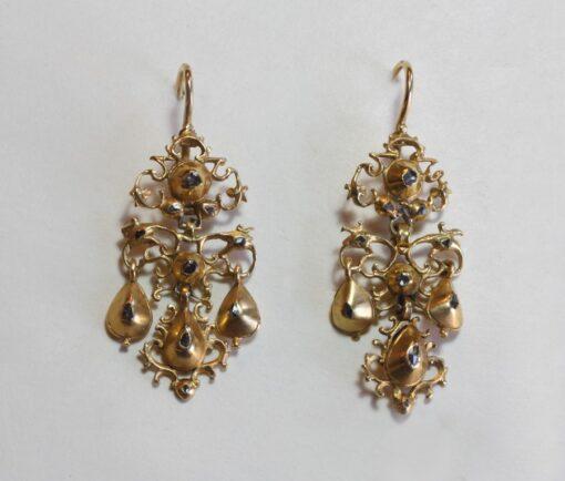 gold and diamond girandole earrings