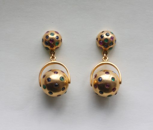 gem set ball earrings
