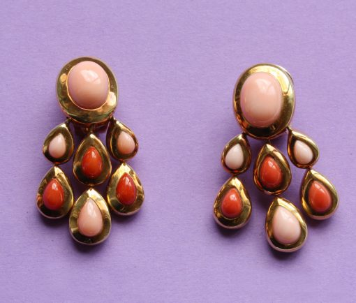 coral girandole earrings