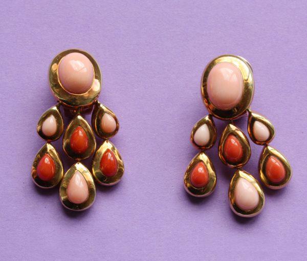 coral girandole earrings