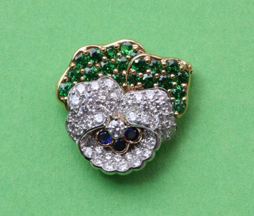 diamond and demantoid pansy brooch