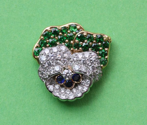 diamond and demantoid pansy brooch