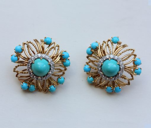 diamond and turquoise ear clips