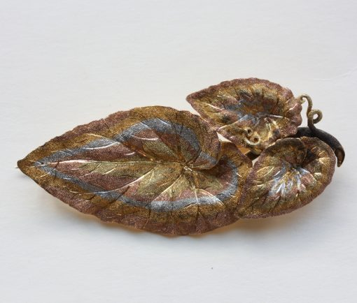 multi colored gold leaf brooch