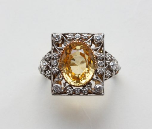 Arts & Crafts' ring with a yellow sapphire