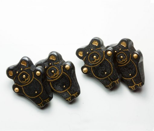 gold and steel teddy bear cufflinks