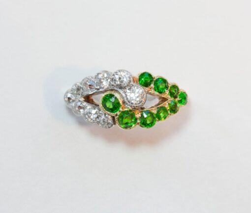 diamond and demantoid ring