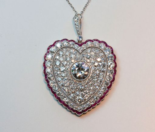diamond and ruby heart pendant