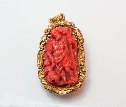 coral double cameo pendant