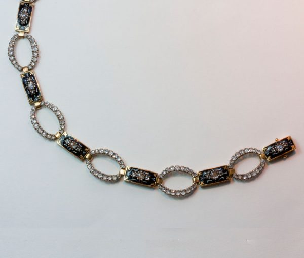 diamond and black and white enamel bracelet