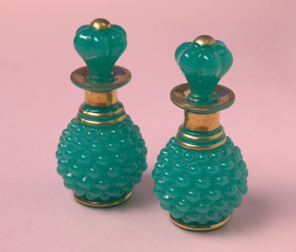 2 opaline pineapple shaped vases