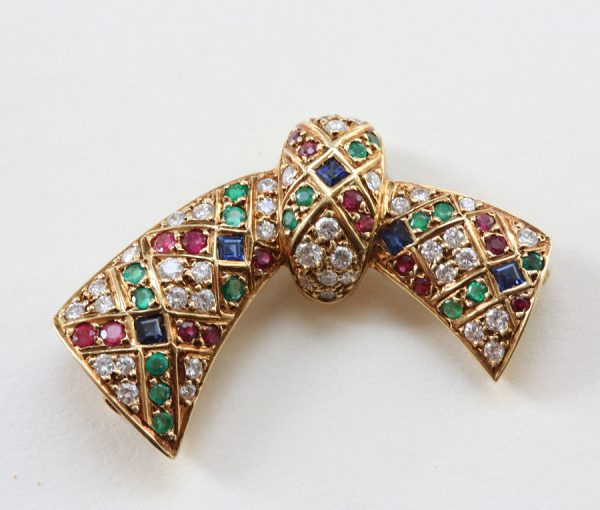 colored bow brooch
