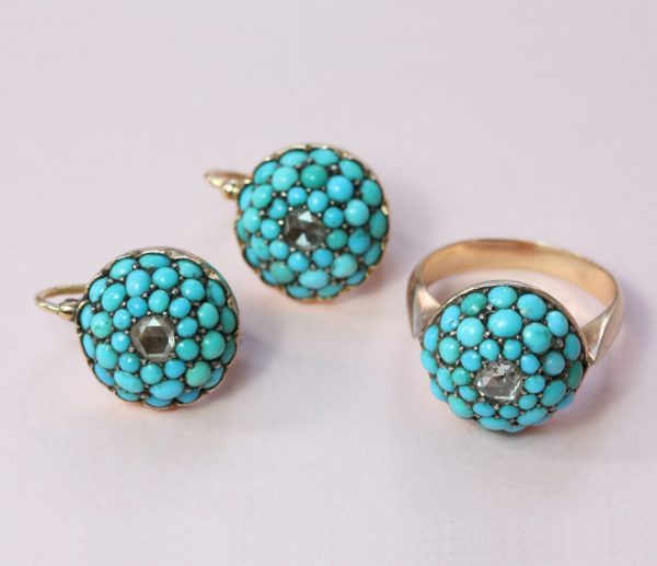 diamond and turquoise earrings and ring