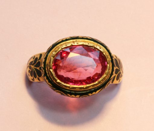 gold pink spinel ring