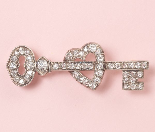 key to you heart brooch