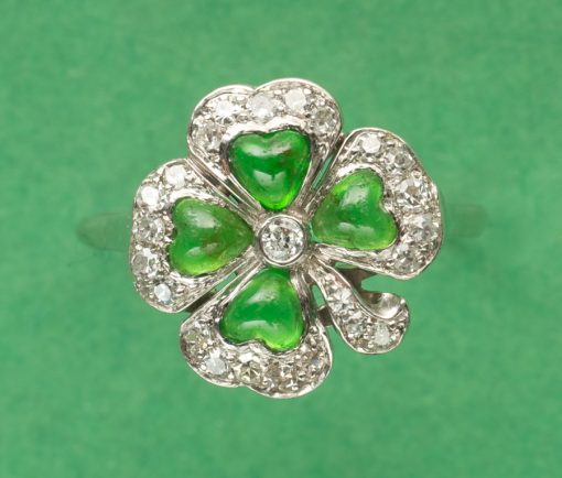 diamond and dematoid clover ring