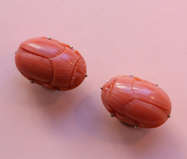 coral scarab cufflinks