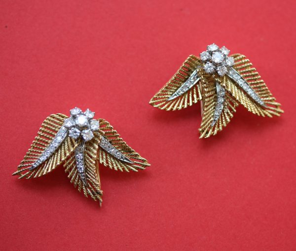 gold and diamond clip brooches