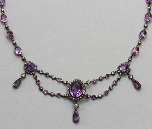 diamond and amethyst festoon necklace