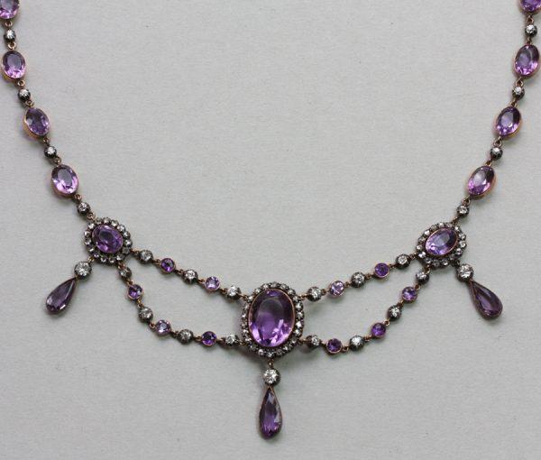 diamond and amethyst festoon necklace
