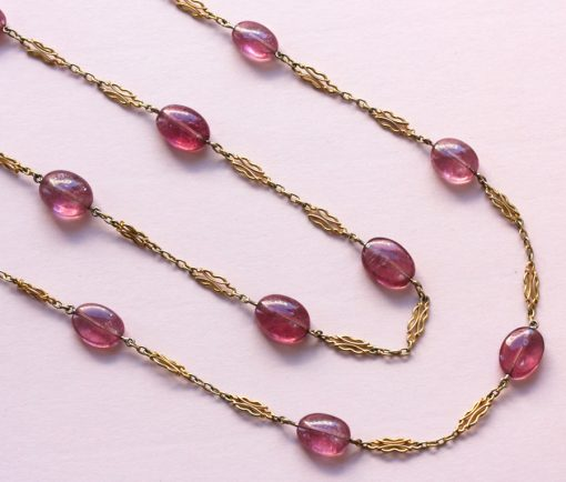 gold and pink tourmaline longchain