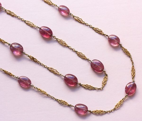 gold and pink tourmaline longchain