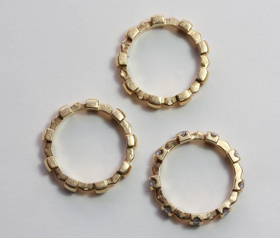 'Palissade' gold and diamond rings - Inez Stodel