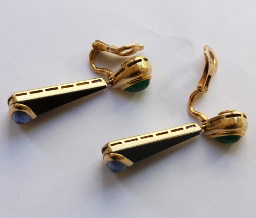 emerald and sapphire earclips