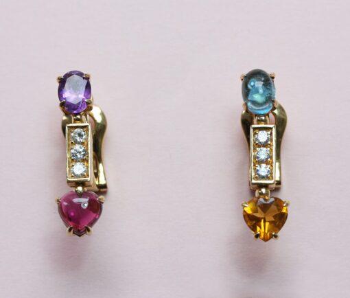 colored heart earrings