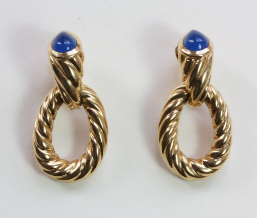 gold sodalite earrings