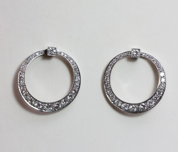 diamond and platinum hoop earrings