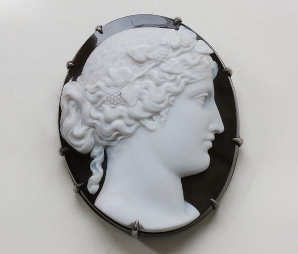 onyx Bacchante cameo brooch