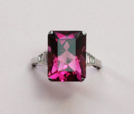 platinum diamond and tourmaline ring